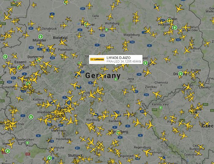 карта самолетов в небе онлайн
