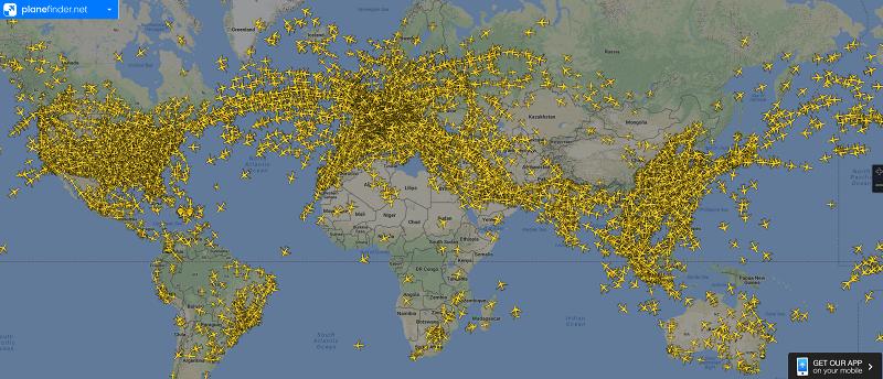 Покрытие радара для отслеживания самолетов PlaneFinder