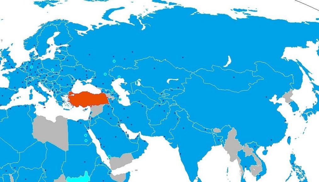 Карта полетов Turkish Airlines