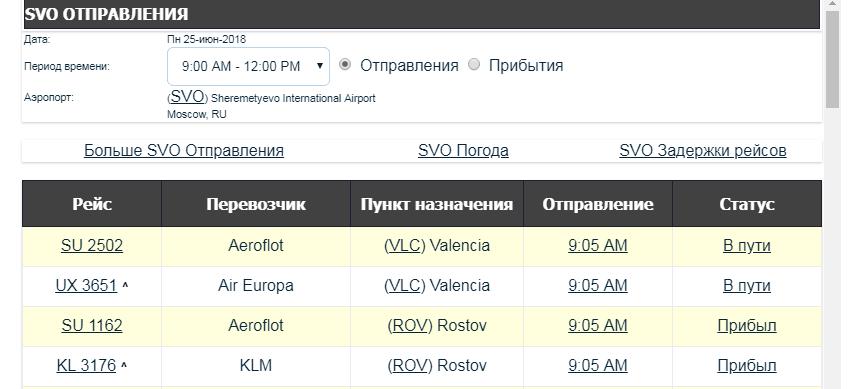 Онлайн-табло Шереметьево вылет