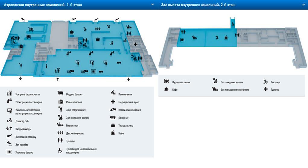 Схема и инфраструктура аэропорта Краснодар