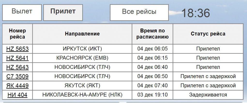 Онлайн-табло: аэропорт Хабаровск - прибытие