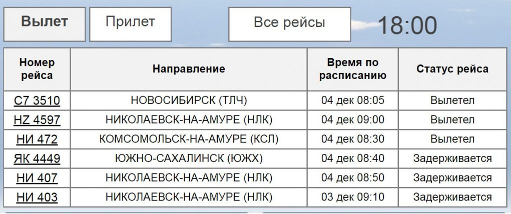 Онлайн-табло вылета аэропорт Хабаровск
