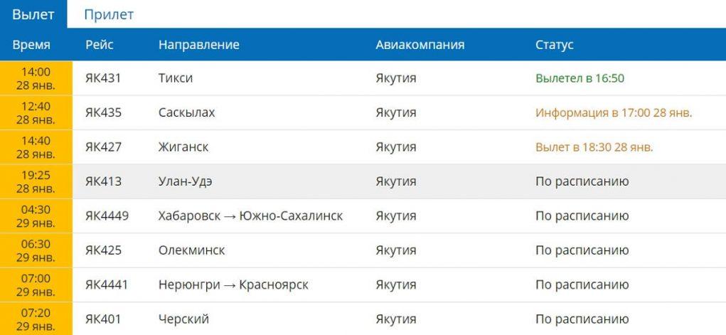 Онлайн-табло: аэропорт Якутск вылет