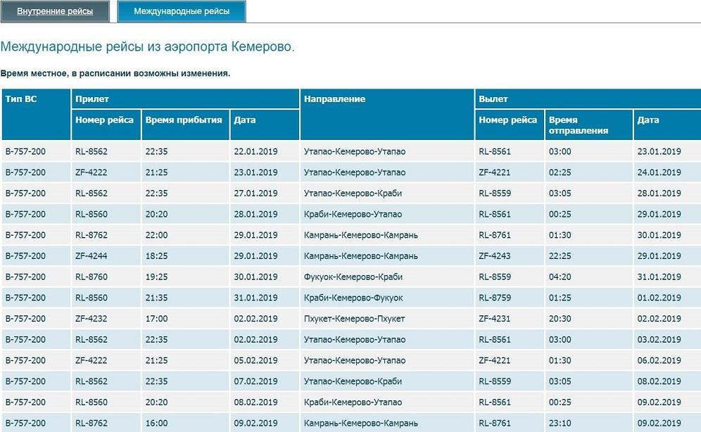 Онлайн-табло прилета: аэропорт Кемерово