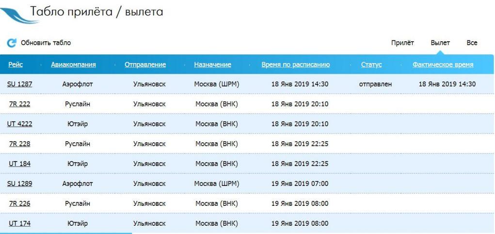 Онлайн-табло вылета аэропорт Ульяновск