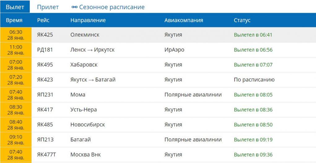 Расписание аэропорт Якутск