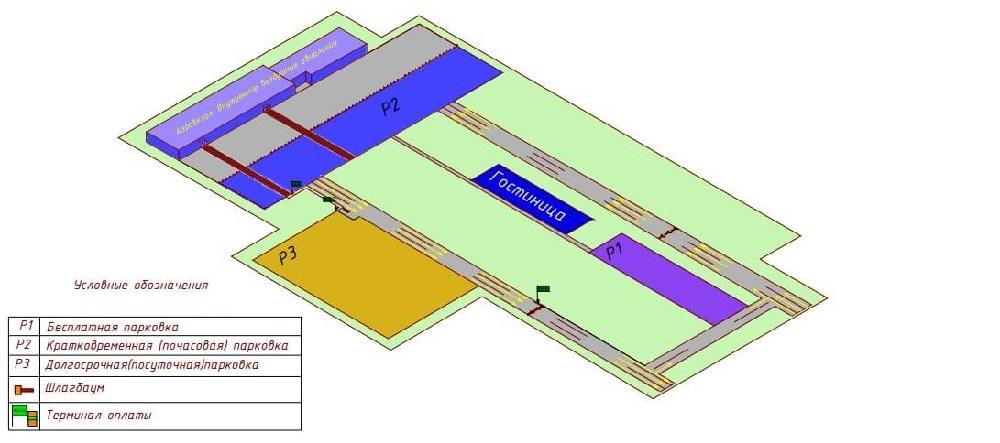 Схема парковок аэропорта Кемеровов