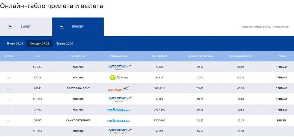 Аэропорт Бегишево: табло прилетов