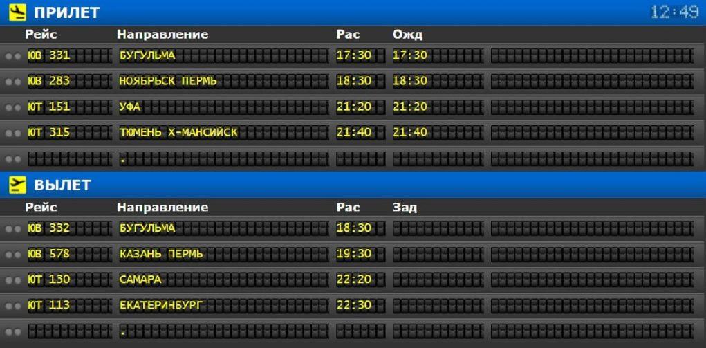 Аэропорт Нижневартовск: онлайн-табло