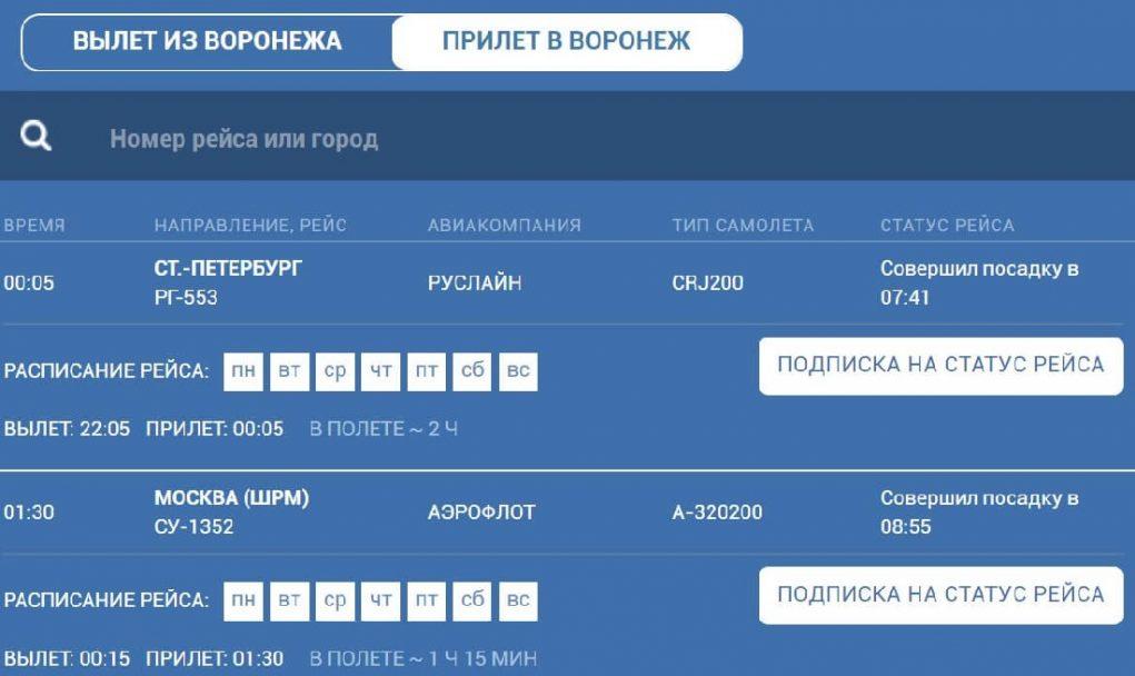 Аэропорт Воронеж онлайн табло прилета