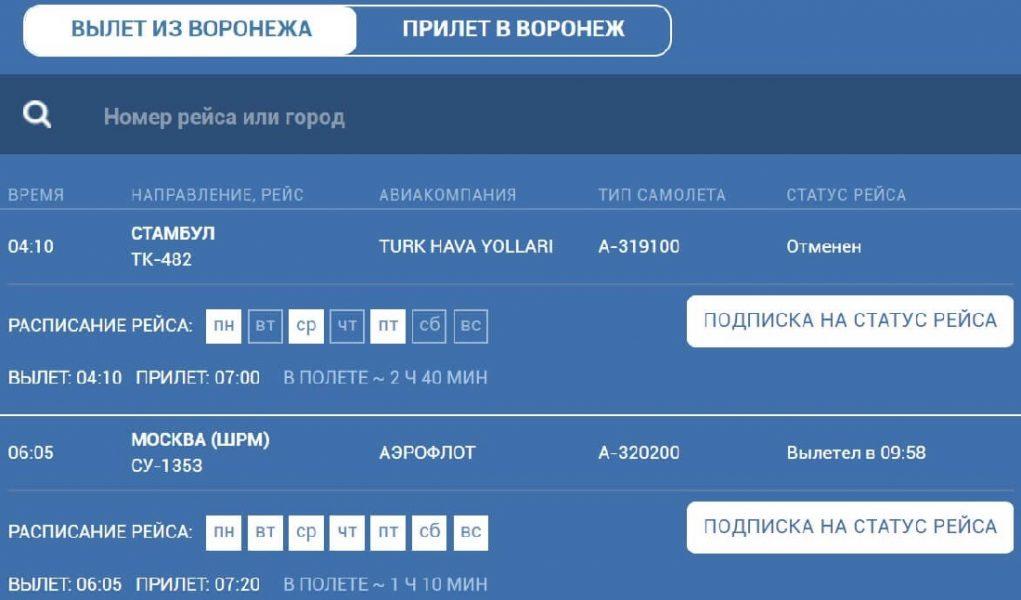 Аэропорт Воронеж онлайн табло вылета на сегодня