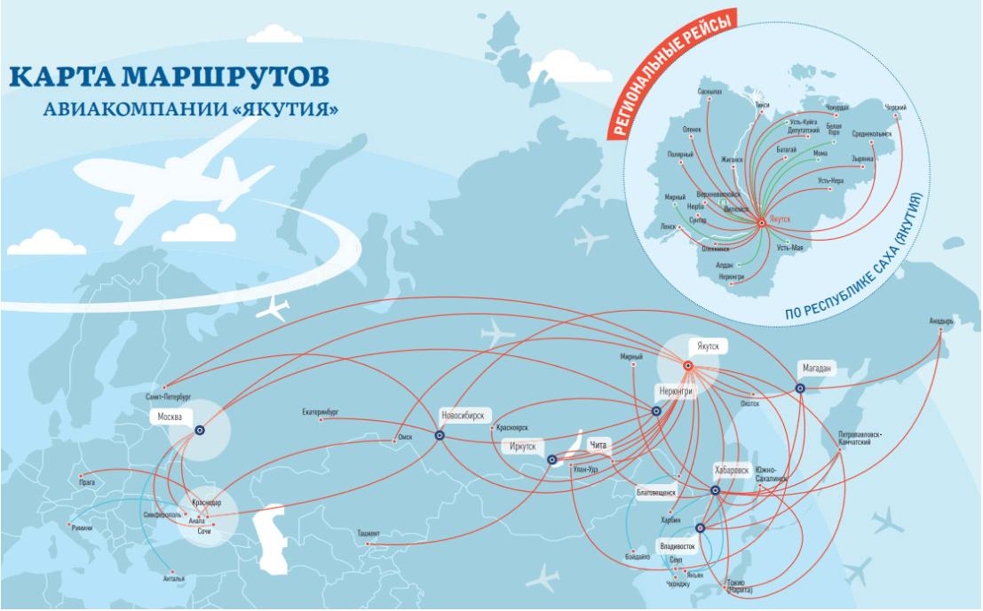 Мршруты авиакомпании Якутия