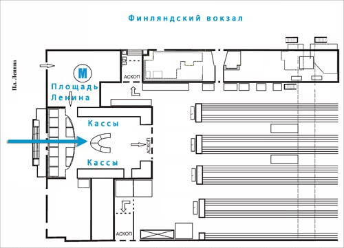 Схема Финляндского вокзала
